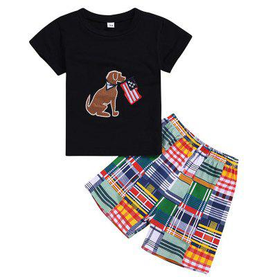 Boy Short Sleeve Shorts Suit