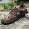 Men's PU Leather Casual Mesh Shoes - DEEP BROWN