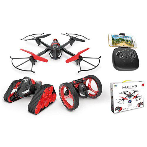 Gearbest HHD Multi-function Three-in-one Combination Toy - Black Quadcopter + Space Car + Bouncer