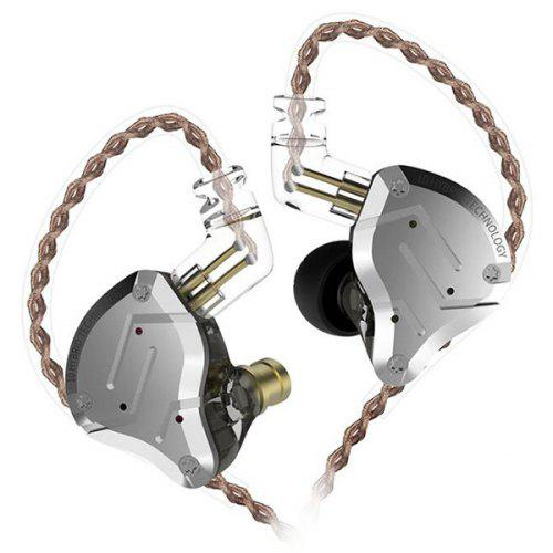 KZ ZS10 Pro Driver in-Ear HiFi Metal Earphones 2 Pin Detachable Cable - Black without Line Control