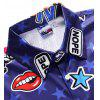 Men Creative Star Print Short Sleeve Casual Jumpsuit - COBALT BLUE
