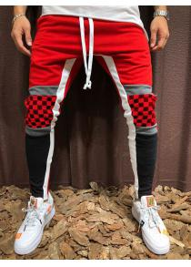 c3d103bd92637b 70% OFF Men s Plaid Sports Pants Stitching Hip Hop Trousers