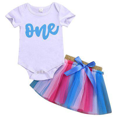 Girls' Short Sleeves T-shirt Skirt Two-Piece Set
