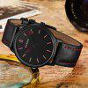 CURREN Men's Waterproof Quartz Watch Leather Belt - BLACK