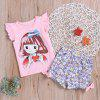 Girls Print T-shirt Flower Shorts Set - LIGHT PINK