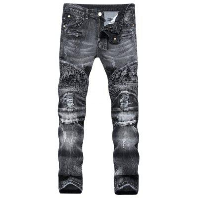 Men's Slim Trousers High Elastic with Zipper