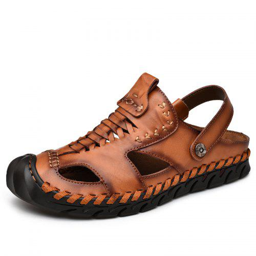 b070d62cdae6 Men s Hollow Out Leather Sandals Breathable Casual