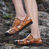 Men's Hollow Out Leather Sandals Breathable Casual - BROWN