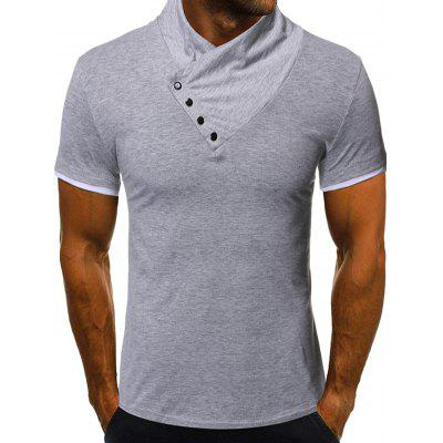 Men Solid Color Short-sleeved T-shirt Button Asymmetric Design