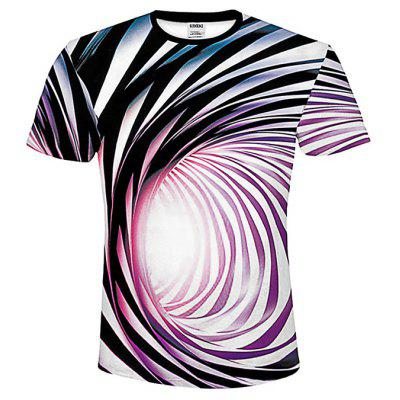 Men Short Sleeve T-shirt 3D Digital Print Round Neck