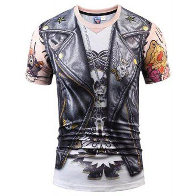 Men Print Short Sleeve T-shirt Round Neck
