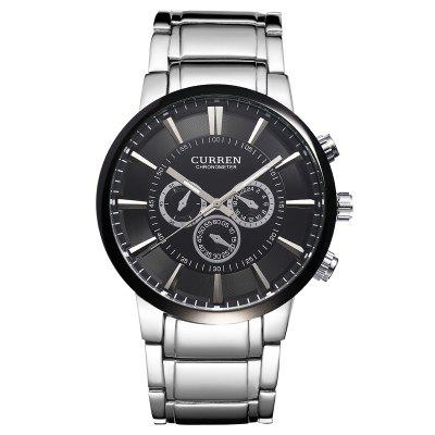 CURREN 8001A Men's Steel Band Quartz Watch Waterproof