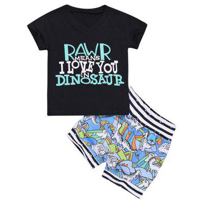 Boy Dinosaur Print T-shirt Shorts Suit
