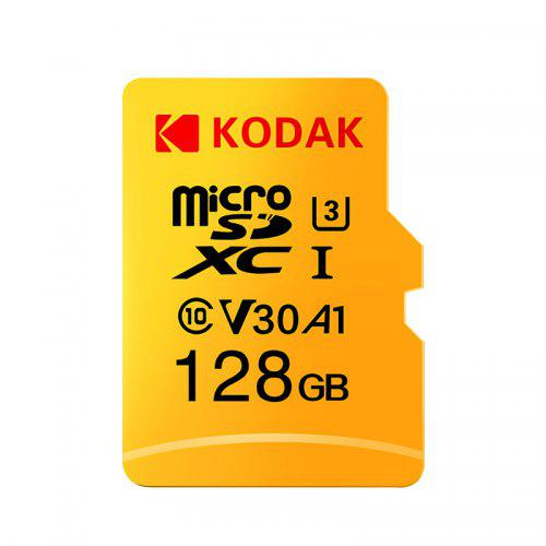 Gearbest Kodak High Speed U3 A1 V30 Micro SD Card TF Card - Yellow 128GB Support 4K UHD Video Recording Continuous Shooting 100Mb/s Reading Speed Memory Card