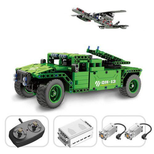 Gearbest QH - 8013 2.4G Assembled Military Model Toy - Green Remote Control Building Blocks 506PCS