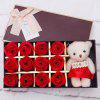 12 Rose Soap Flowers Cute Bear Cub Gift Box - RED