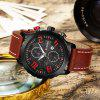 CURREN 8193 Men's Large Dial Leather Band Quartz Watch - CHERRY RED