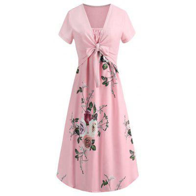 Ladies' Flower Printed Two-Piece Dress with Lace