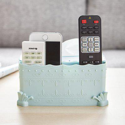 Double Compartment Storage Tissue Box with Mobile Phone Holder
