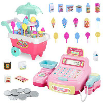 Děti Music Light Ice Cream vozík Supermarket Cash Register Toy Set