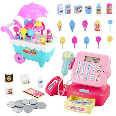 Crianças Music Light Ice Cream Trolley Supermercado Caixa Registadora Toy Set