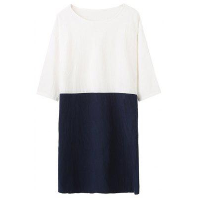 Women's Loose Stitching Dress Round Neck