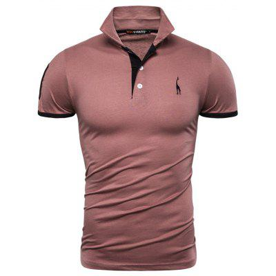 Men T-shirt Deer Print Turn-down Collar