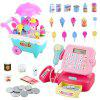 Children Music Light Ice Cream Trolley Supermarket Cash Register Toy Set - LIGHT CYAN