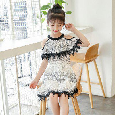 Girls Floral A-line Openwork Lace Mini Dress