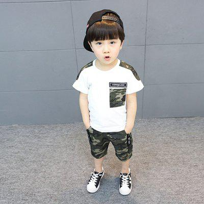 Children Camouflage Stitching T-shirt Pants Set