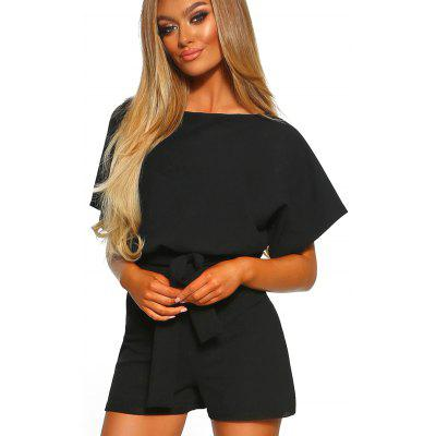 Women's Solid Color Romper Short Sleeves with Tie