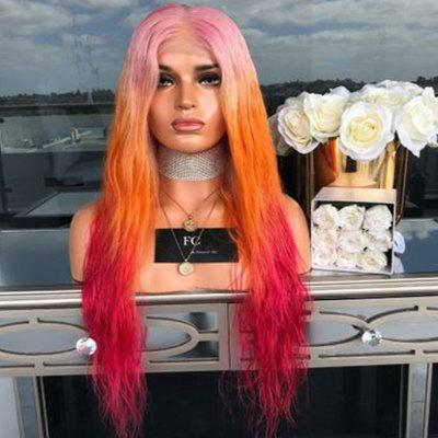 European and American Cents Pink Orange Rose Red Dyed Long Wig