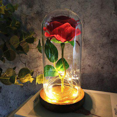 Glass Cover Valentine's Day LED Glow Decoration Ornaments Simulated Rose