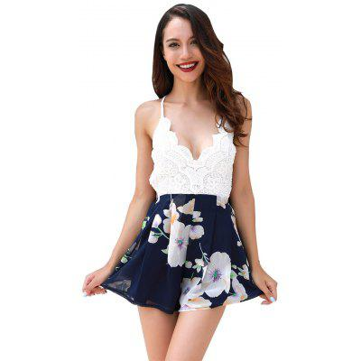 Women's Printed Rompers Plunging Neck