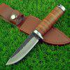 Outdoor Sharp Leather Handle Small Straight Knife - CHOCOLATE
