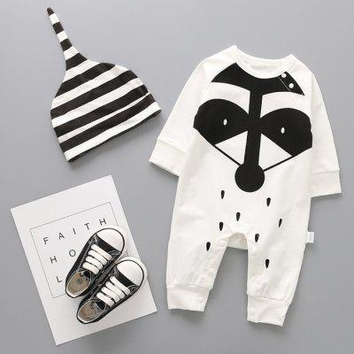 Baby Cartoon Print Romper + Cap