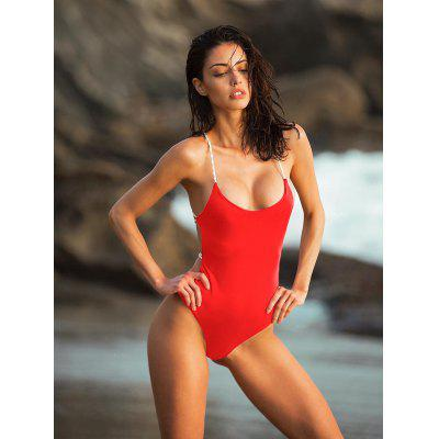 Ladies One-piece Swimsuit Solid Color Backless