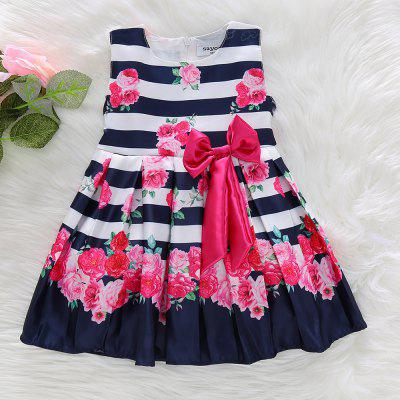 1245 Girls Princess Dress Satin Printed Bow