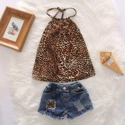 1276 Girls Clothing Set Leopard Vest Sling Denim Hole Shorts