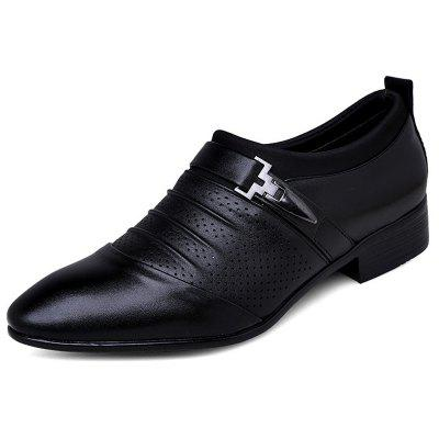 Men's Pointed Toe Perforated Breathable Stylish Dress Shoes