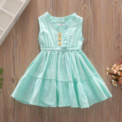 1279 Girls Cotton Pleated Solid Color Dress