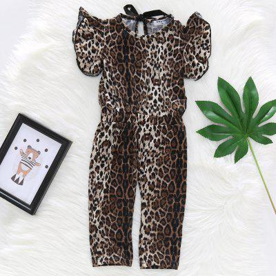1247 Girls Cotton Stretch Leopard Print Jumpsuit