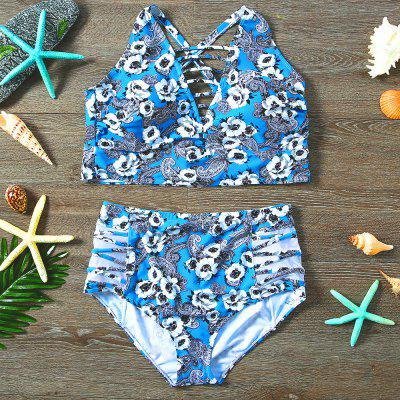 Ladies Sexy Printed Bathing Suit High Waist