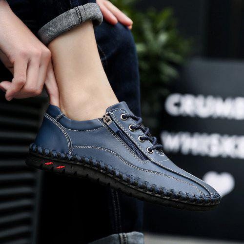Men's Leather Hand Stitching Casual Shoes Breathable Outdoor