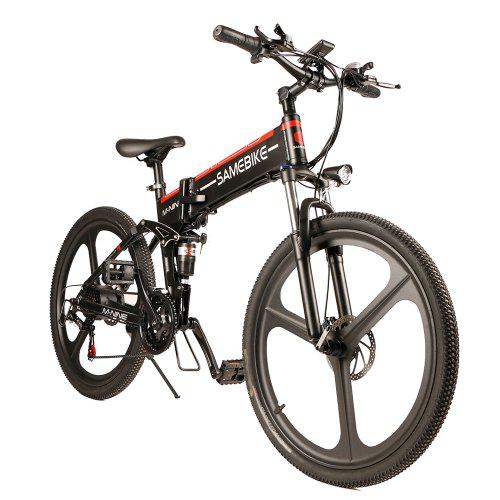 Samebike LO26 Moped Electric Bike Smart Folding Bike E-bike – BLACK EU PLUG 271643001 with Double Disc Brakes / 10.4Ah Battery