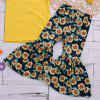 TDE213 Short Sleeve Sunflower Printed Flare Pants Set - YELLOW