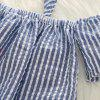 1250 Girls Set Striped Bow Elastic Folds - BLUE GRAY