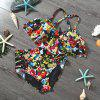 Lady Printed Bathing Suit High Waist Backless - MULTI-A