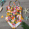 Women's Sexy Printed One-piece Bathing Suit - PAPAYA ORANGE