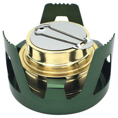 Outdoor Portable Aluminum Alloy Alcohol Stove Burner Cooking Tool with Sealed Cap Fire Extinguish Lid